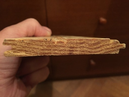"End view of solid 5/8"" thick bead board"