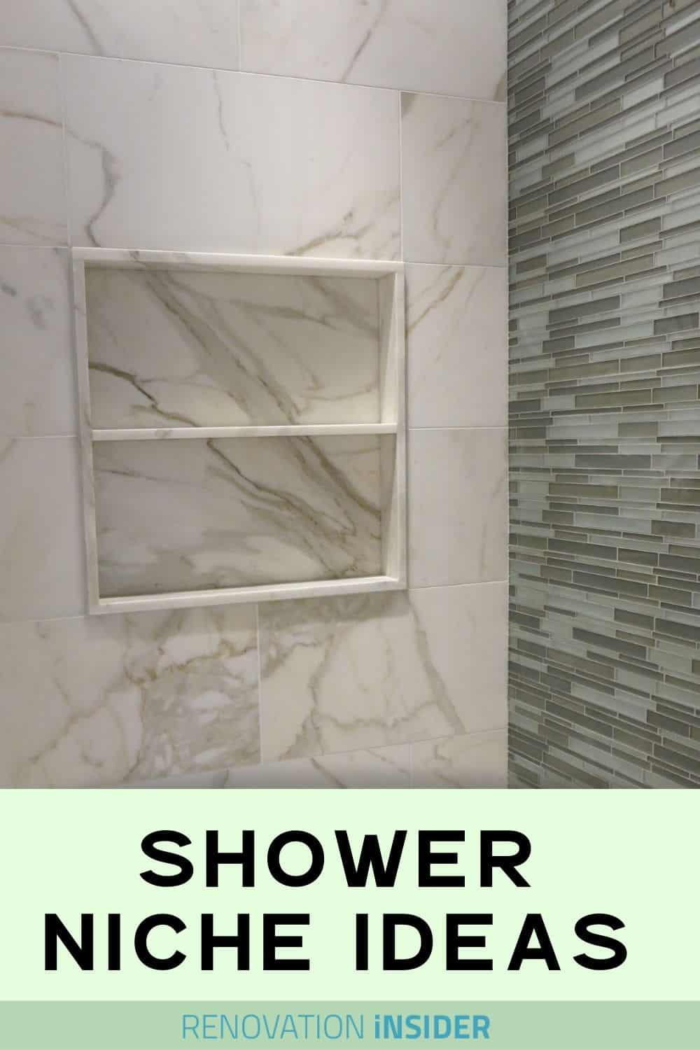 Shower niche in marble with one shelf