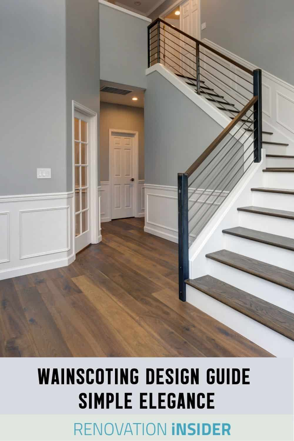 Stair entry with white wainscoting
